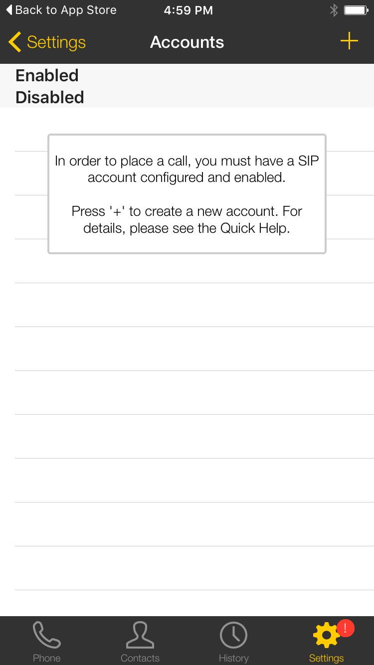 Bria  iphone 1 no account