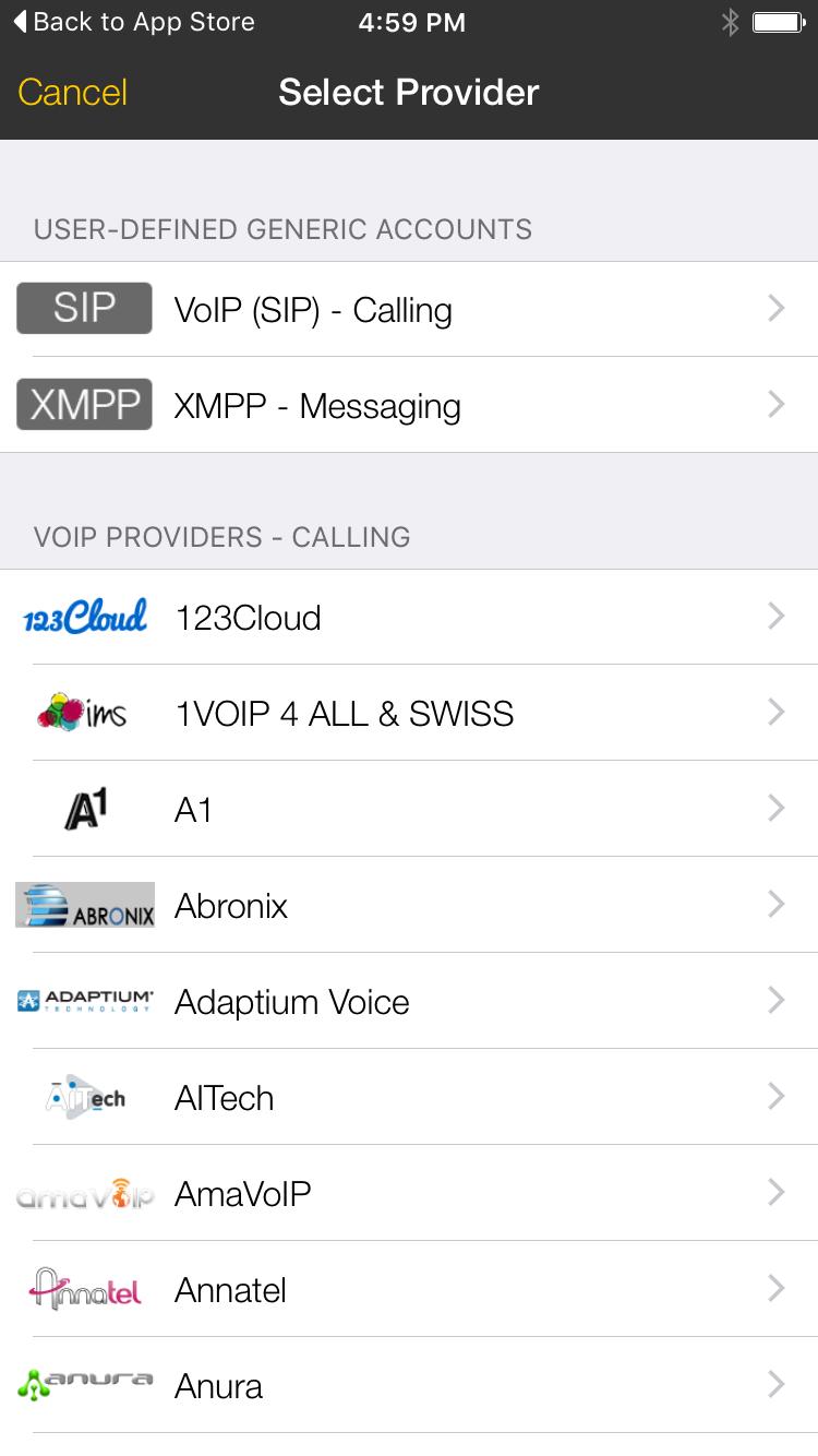 Bria iphone 2 select provider