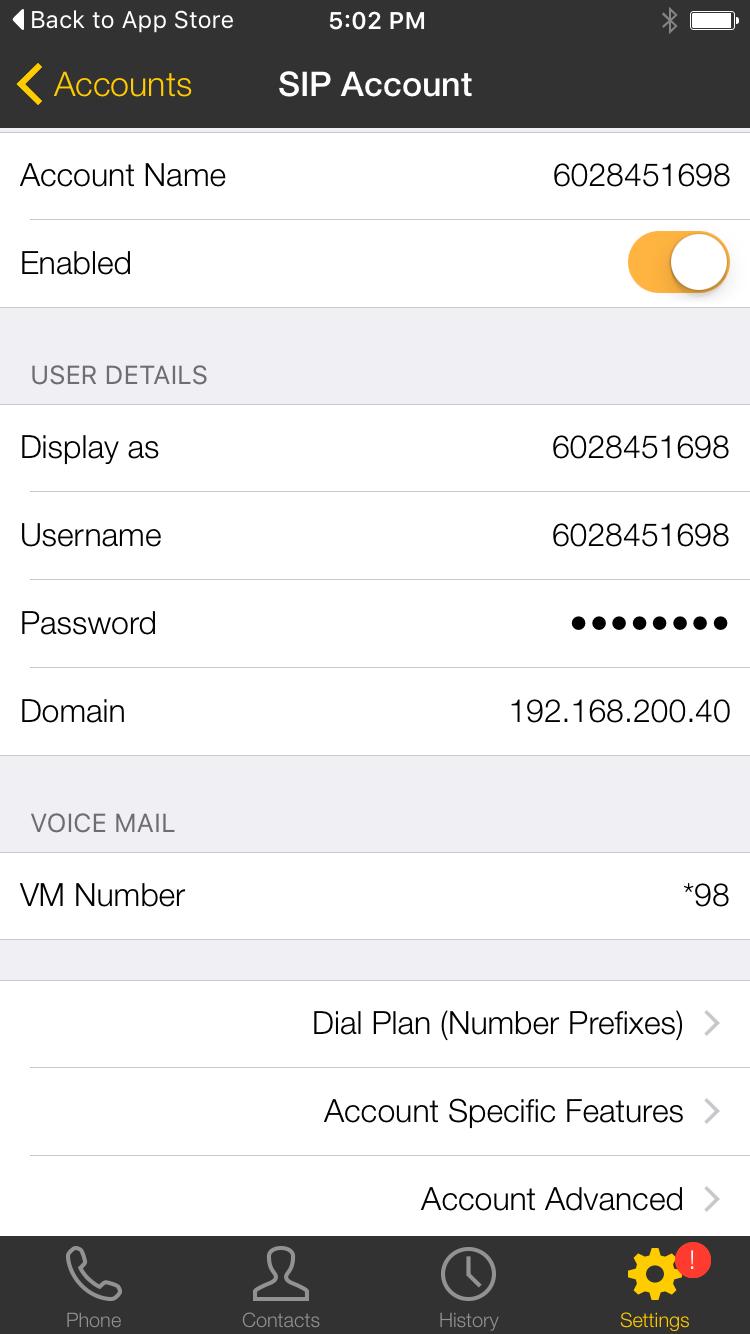 Bria iphone 5 sip account